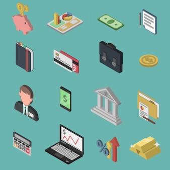 Set di icone isometriche di banca