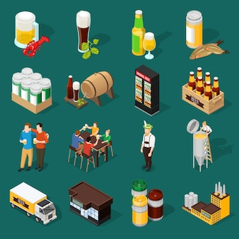 Set di icone isometriche di birra