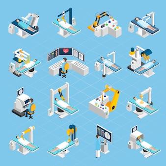 Set di icone isometriche di chirurgia robotica