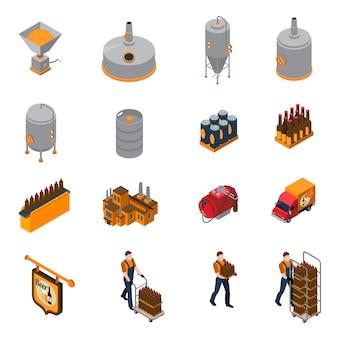 Set di icone isometriche di fabbrica di birra