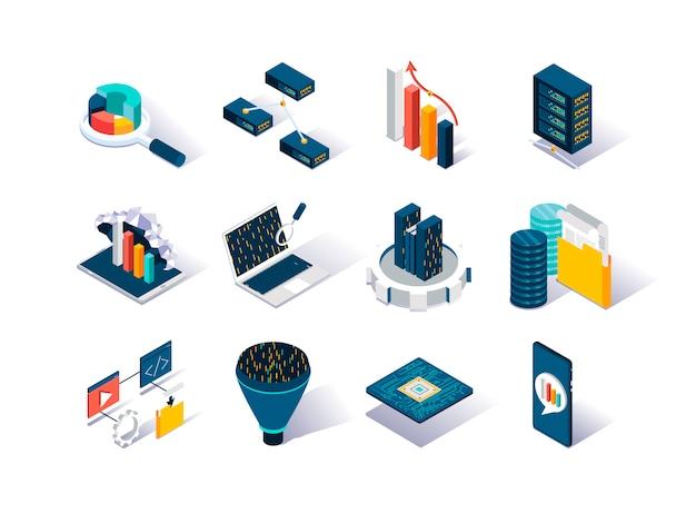 Set di icone isometriche di grandi quantità di dati.