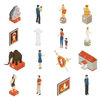 Set di icone isometriche di museo d'arte