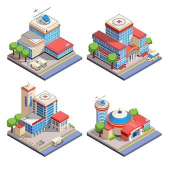 Set di icone isometriche di ospedale