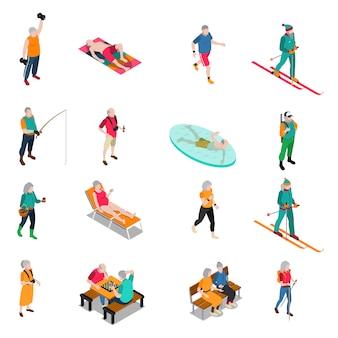 Set di icone isometriche di persone anziane