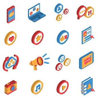 Set di icone isometriche di rete sociale