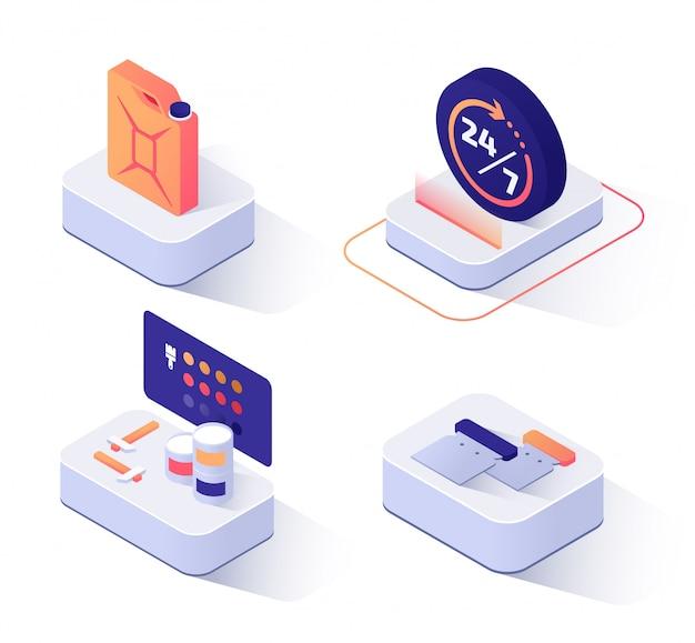 Set di icone isometriche di servizio di riparazione auto.