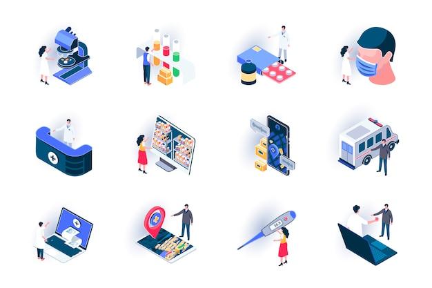 Set di icone isometriche di servizio medico. diagnosi e trattamento nell'illustrazione piana della clinica. consultazione medica online, assicurazione sulla vita e assistenza sanitaria pittogrammi isometrici 3d con personaggi di persone