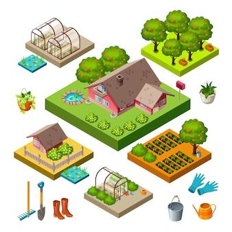 Set di icone isometriche giardino.
