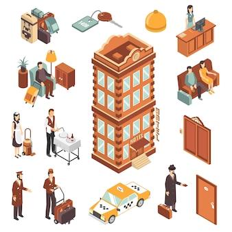 Set di icone isometriche hotel