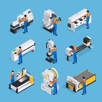 Set di icone isometriche metallurgico