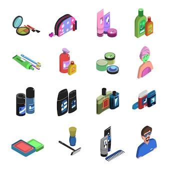 Set di icone isometriche per il bodycare