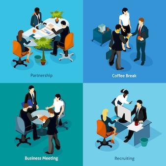 Set di icone isometriche persone d'affari
