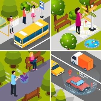 Set di icone isometriche realtà aumentata virtuale
