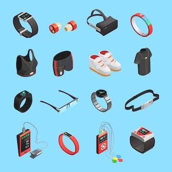 Set di icone isometriche tecnologia indossabile