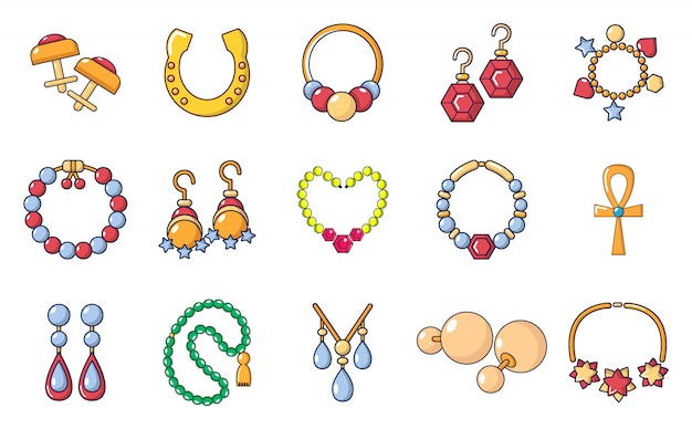 Set di icone jewerly. l'insieme del fumetto di jewerly icone di vettore ha impostato isolato