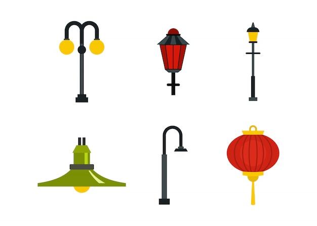 Set di icone lampione. insieme piano della raccolta delle icone di vettore della lampada di via isolato
