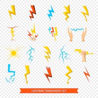Set di icone lampo trasparente
