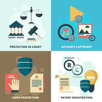 Set di icone legali di copyright