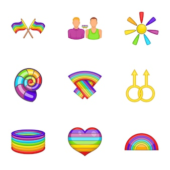 Set di icone lgbt, stile cartoon