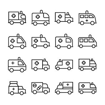 Set di icone linea ambulanza