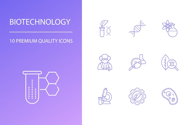 Set di icone linea biotecnologia