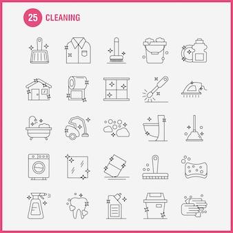 Set di icone linea di pulizia
