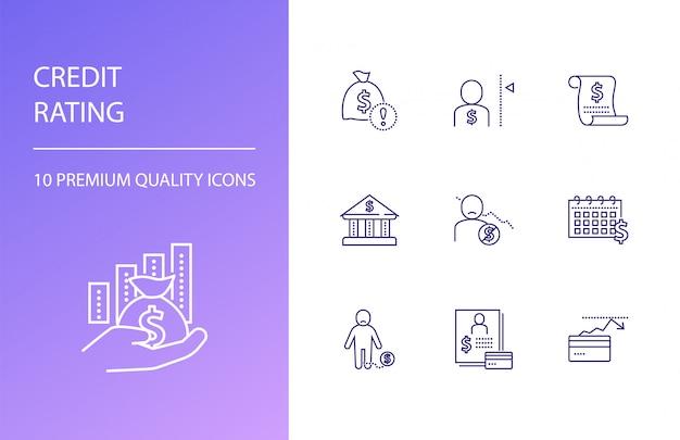 Set di icone linea di rating del credito