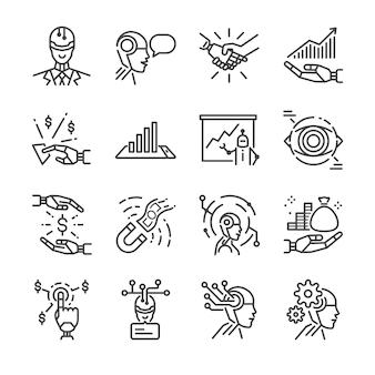 Set di icone linea di robo advisor.
