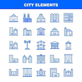 Set di icone linea elementi città per infografica, kit ux / ui mobile