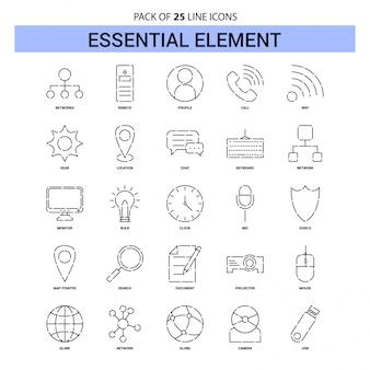 Set di icone linea elemento essenziale - 25 stile contorno tratteggiato