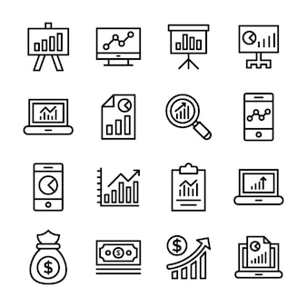 Set di icone linea grafico aziendale