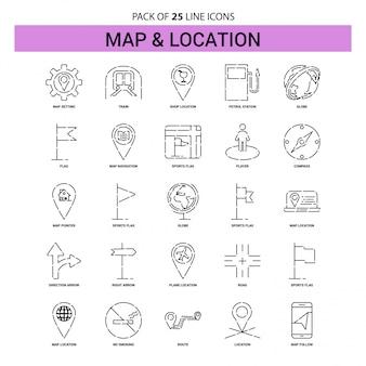 Set di icone linea mappa e posizione - 25 stile contorno tratteggiato