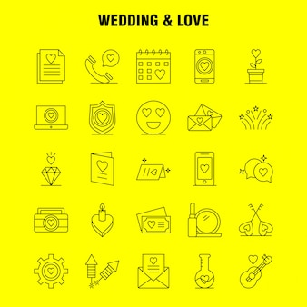 Set di icone linea matrimonio e amore