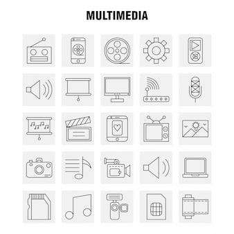 Set di icone linea multimediale
