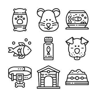 Set di icone linea petshop.