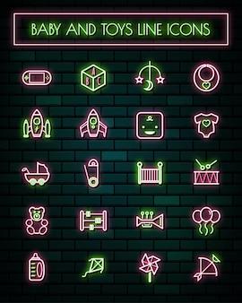 Set di icone linea sottile al neon di strumenti di bambino sottile.
