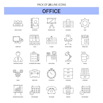 Set di icone linea ufficio - 25 stile contorno tratteggiato