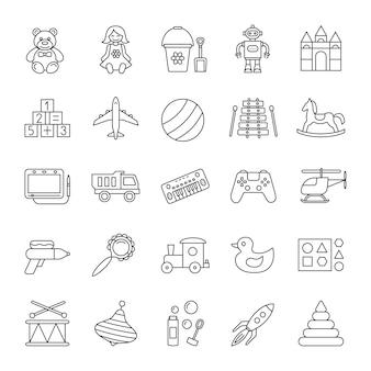 Set di icone lineare di giocattoli per bambini