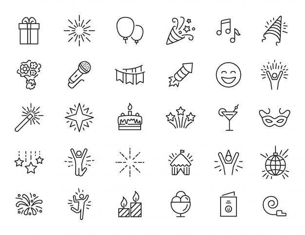 Set di icone lineari del partito. icone di celebrazione dal design semplice. illustrazione vettoriale