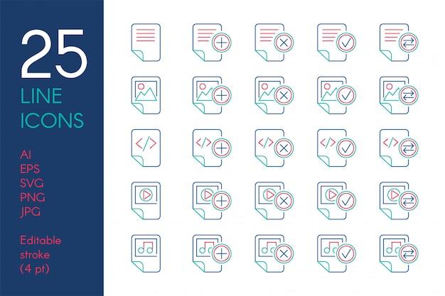 Set di icone lineari di colore di documenti e file