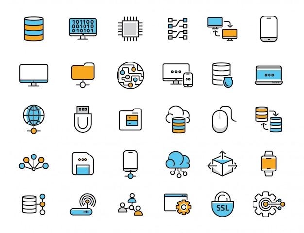 Set di icone lineari di tecnologie informatiche icone di database