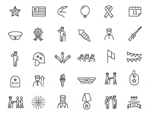 Set di icone lineari giorno dei veterani. icone militari dal design semplice.