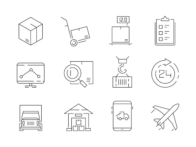 Set di icone logistiche. i contenitori di scatole di consegna del magazzino e la gru di trasporto spediscono i simboli di linea sottile
