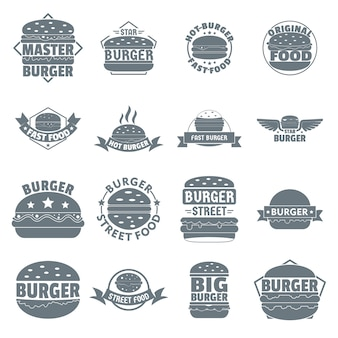Set di icone logo burger