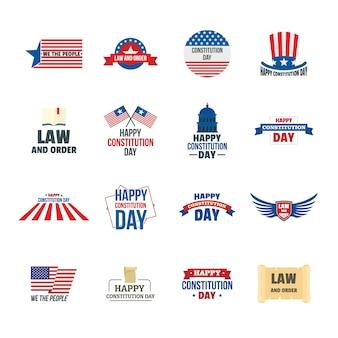 Set di icone logo usa di costituzione giorno