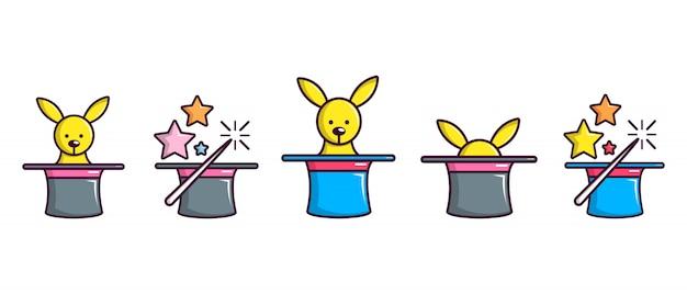 Set di icone magiche cappello a cilindro. insieme del fumetto della raccolta magica delle icone di vettore del cappello superiore isolata