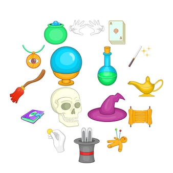Set di icone magiche, stile cartoon