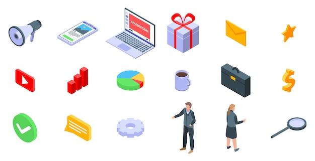 Set di icone manager pubblicità, stile isometrico