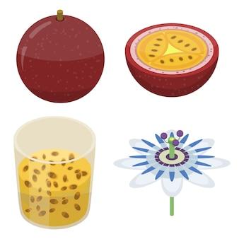Set di icone maracuja, stile isometrico