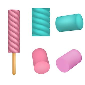 Set di icone marshmallow. insieme realistico delle icone di vettore di marshmallow per web design isolato su priorità bassa bianca
